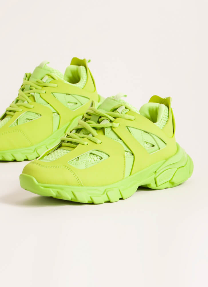 The Layers Club Sporty Tonal Sneakers LIME