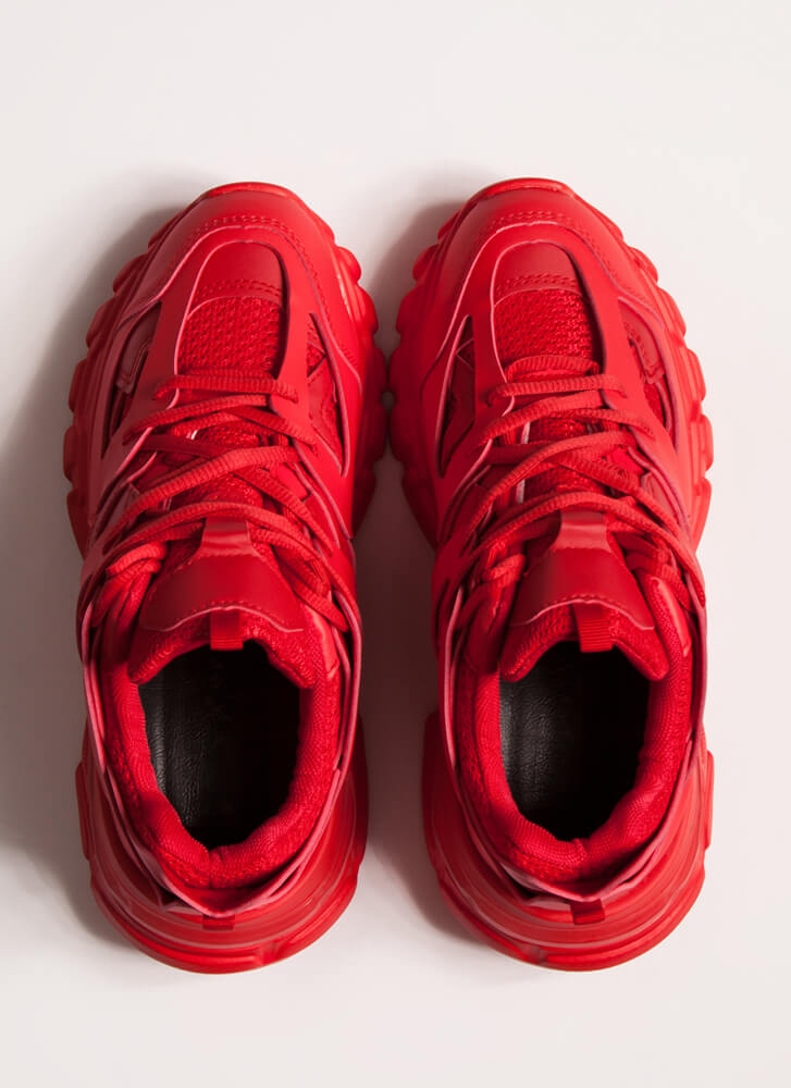 The Layers Club Sporty Tonal Sneakers RED