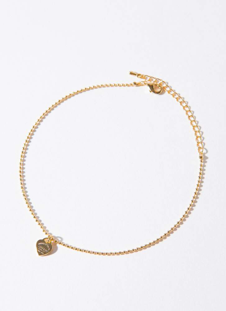 Comes From The Heart Beaded Anklet GOLD