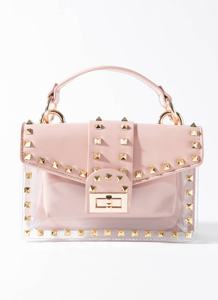 Clear Out Studded 2-Piece Clear Purse PINK