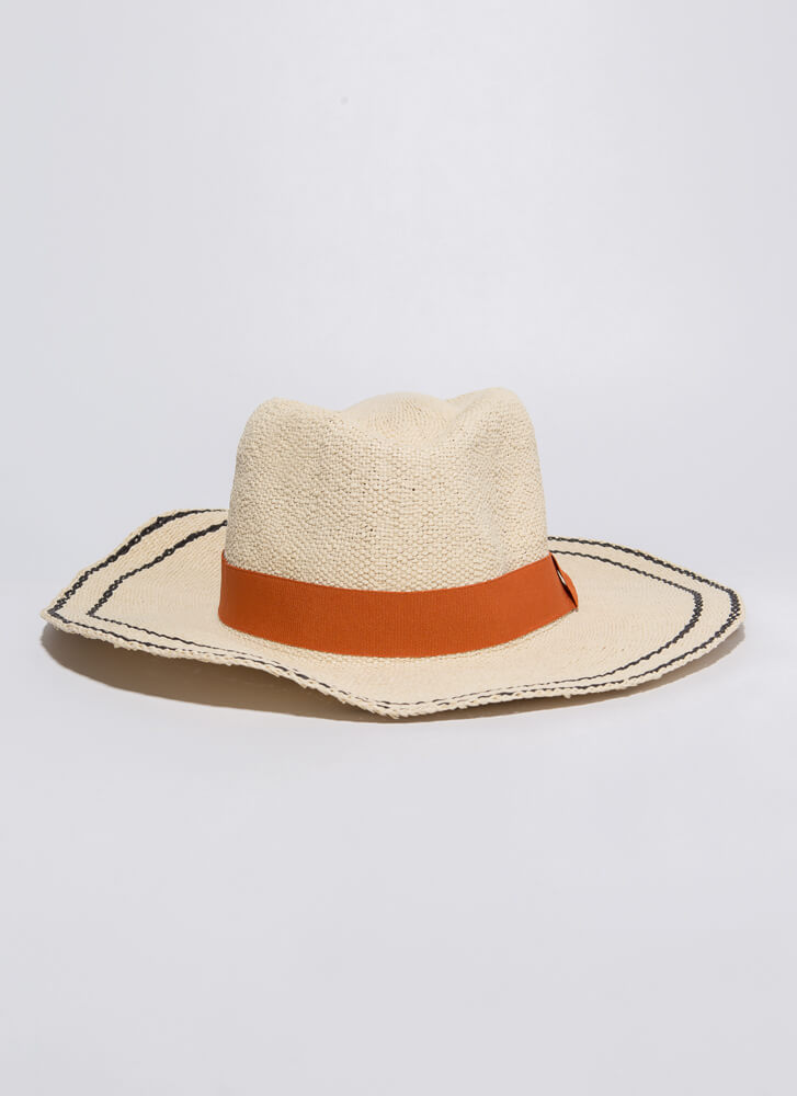 On The Border Trimmed Woven Hat IVORY