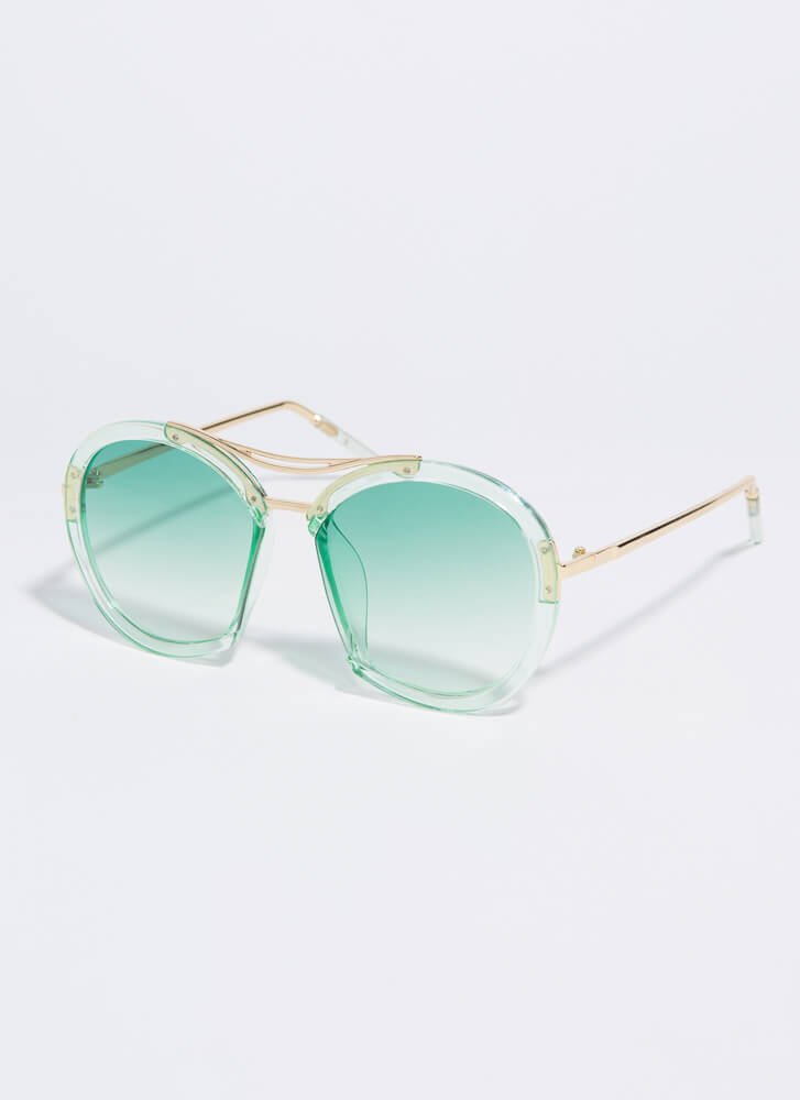 Nose For Fashion Round Sunglasses GREEN