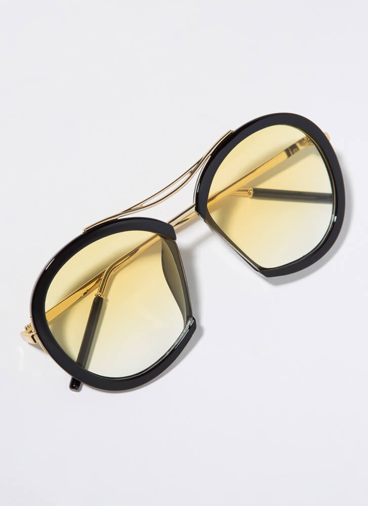 Nose For Fashion Round Sunglasses YELLOW