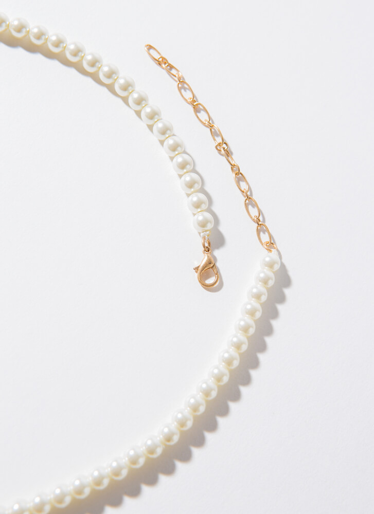 All Eyes On You Faux Pearl Necklace CREAM