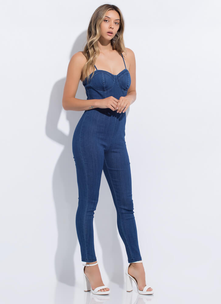 One And Done Denim Bustier Jumpsuit DKBLUE