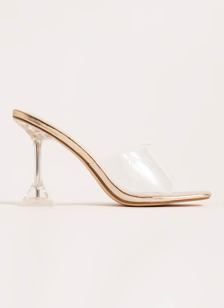 On A Pedestal Clear Illusion Heels GOLD