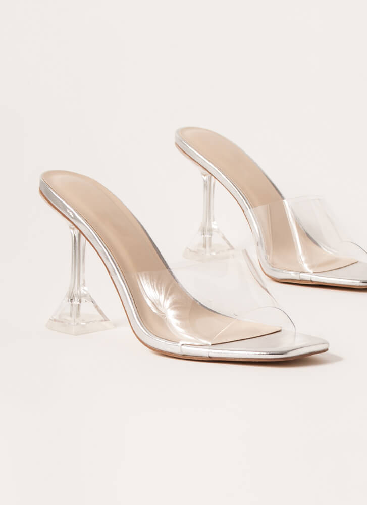 On A Pedestal Clear Illusion Heels SILVER