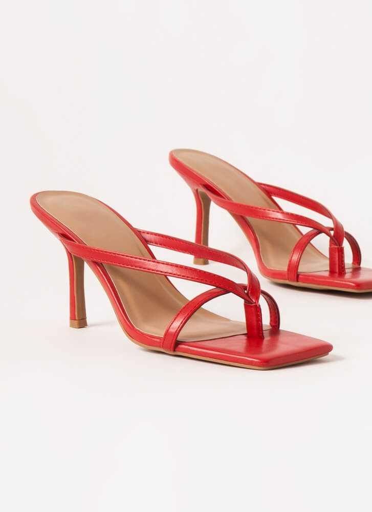 Vacation Nights Strappy Thong Heels RED