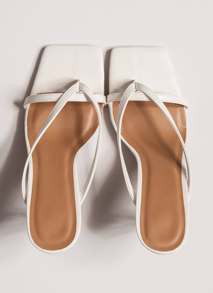 Vacation Nights Strappy Thong Heels WHITE