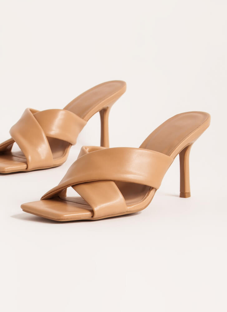 X Factor Faux Leather Mule Heels NATURAL