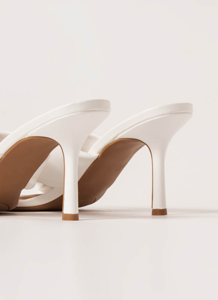 X Factor Faux Leather Mule Heels WHITE