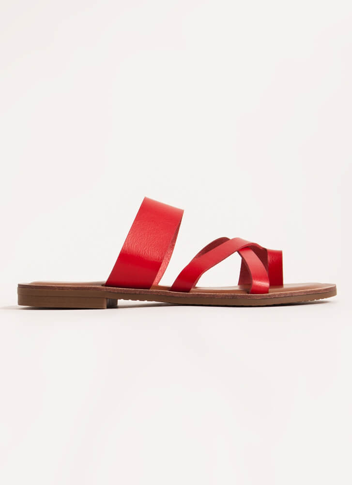 Crossover Artist Toe Strap Sandals RED