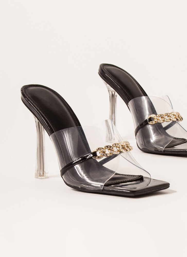 Clear Case Jeweled Chain Illusion Heels BLACK