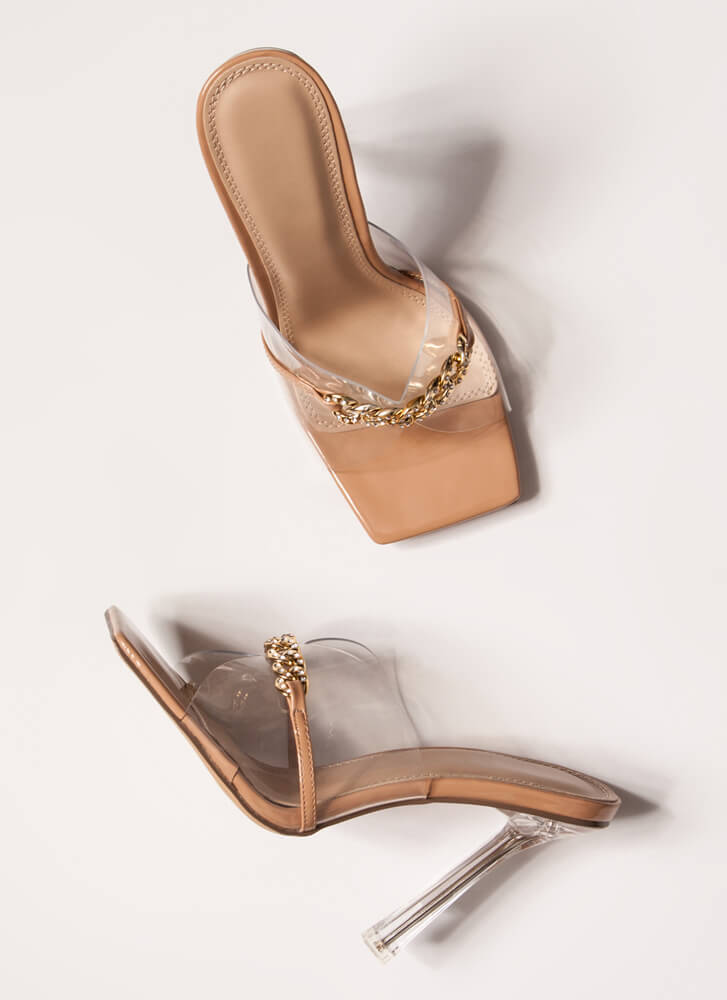 Clear Case Jeweled Chain Illusion Heels NUDE