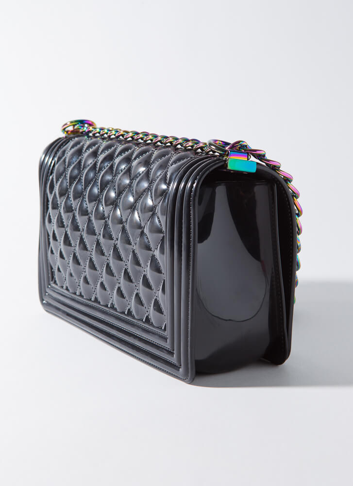 Iridescence Quilted Chained Jelly Purse BLACK