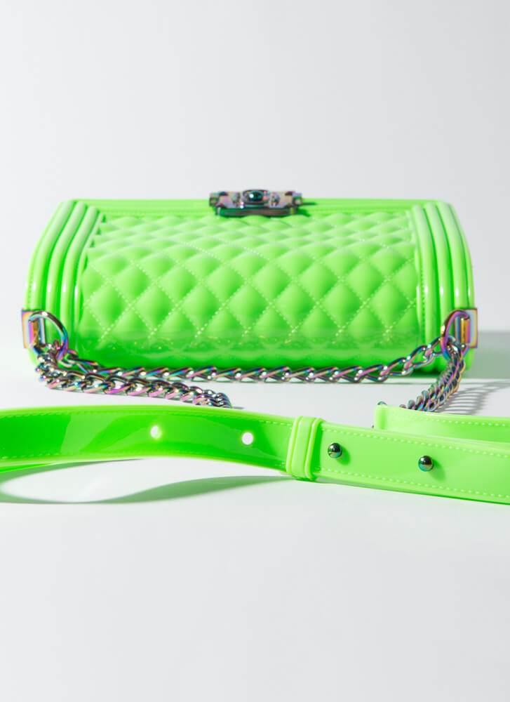 Iridescence Quilted Chained Jelly Purse GREEN
