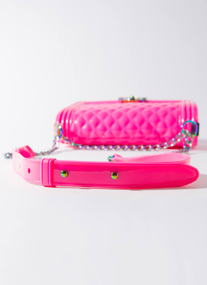 Iridescence Quilted Chained Jelly Purse ROSE