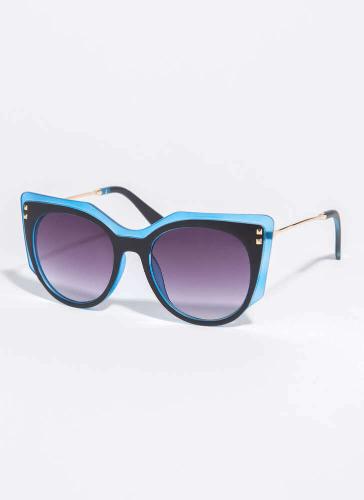 Frame Of Mind Two-Toned Sunglasses BLUE