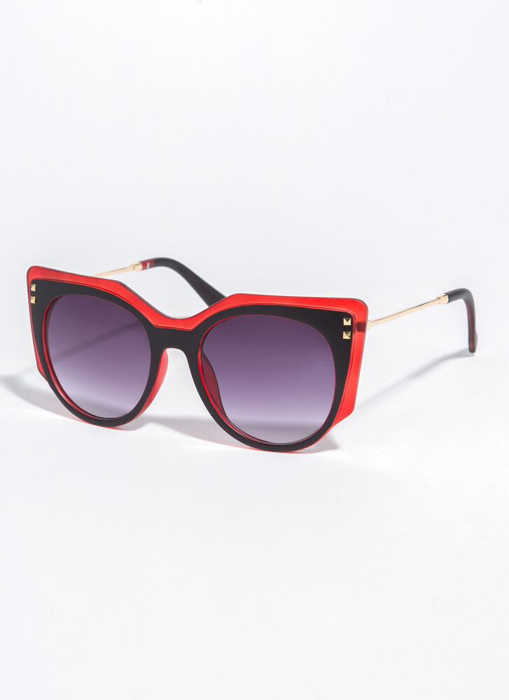 Frame Of Mind Two-Toned Sunglasses RED