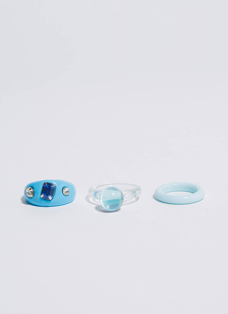 Fun And Games Chunky Ring Trio BLUE