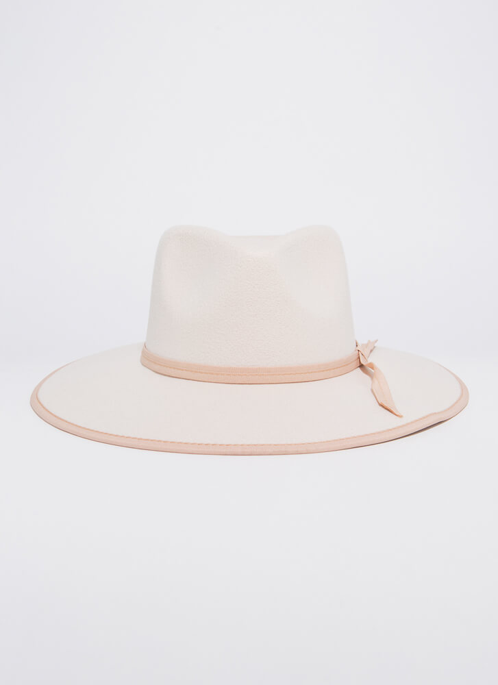 Tied For Best Felted Trimmed Fedora IVORY
