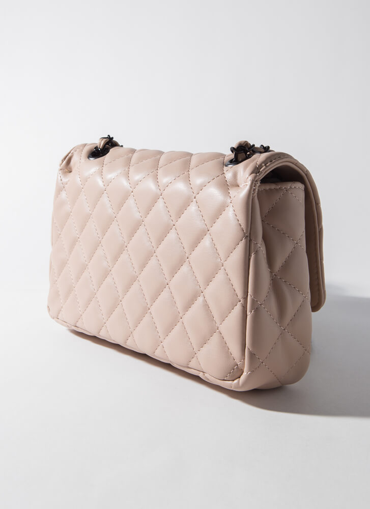 Classic Edge Quilted Chain Strap Bag NUDE