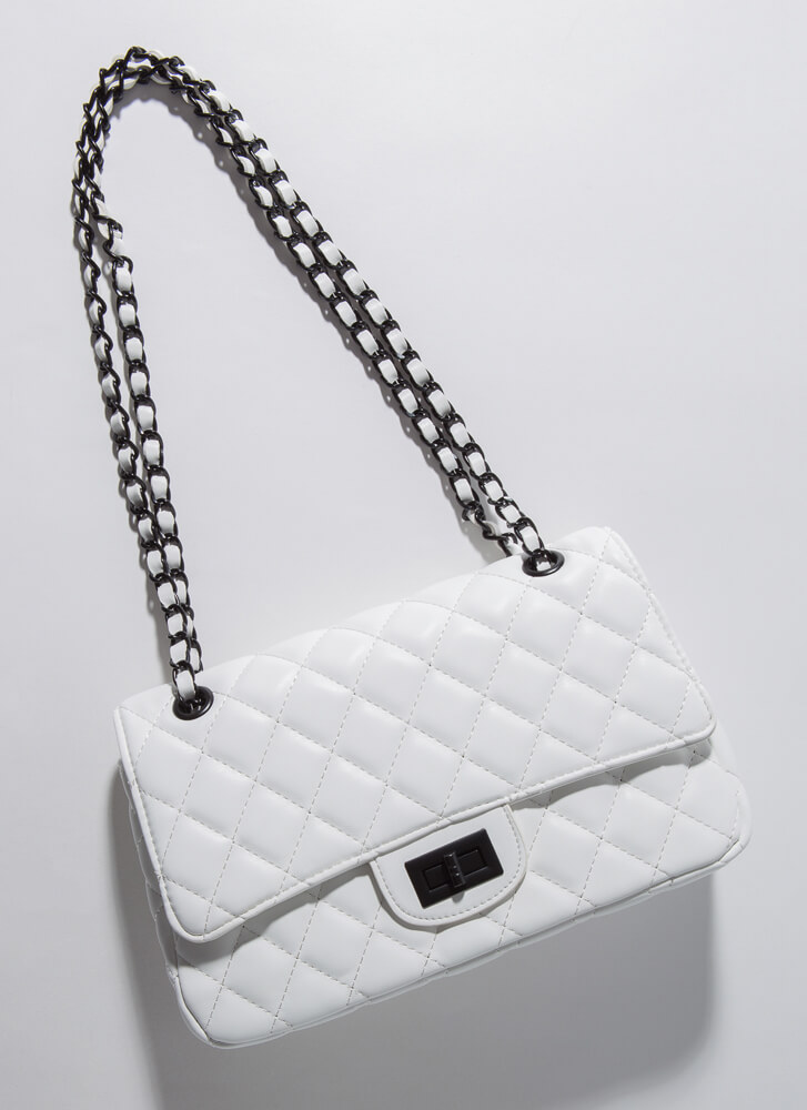 Classic Edge Quilted Chain Strap Bag WHITE