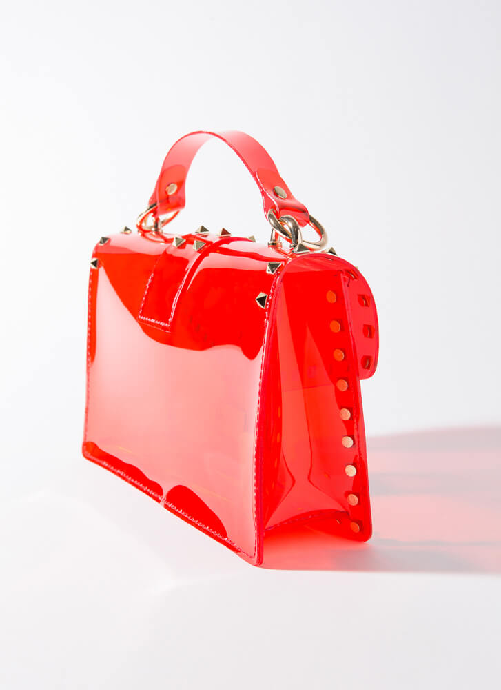 Edgy At Work Studded Jelly Purse REDGOLD