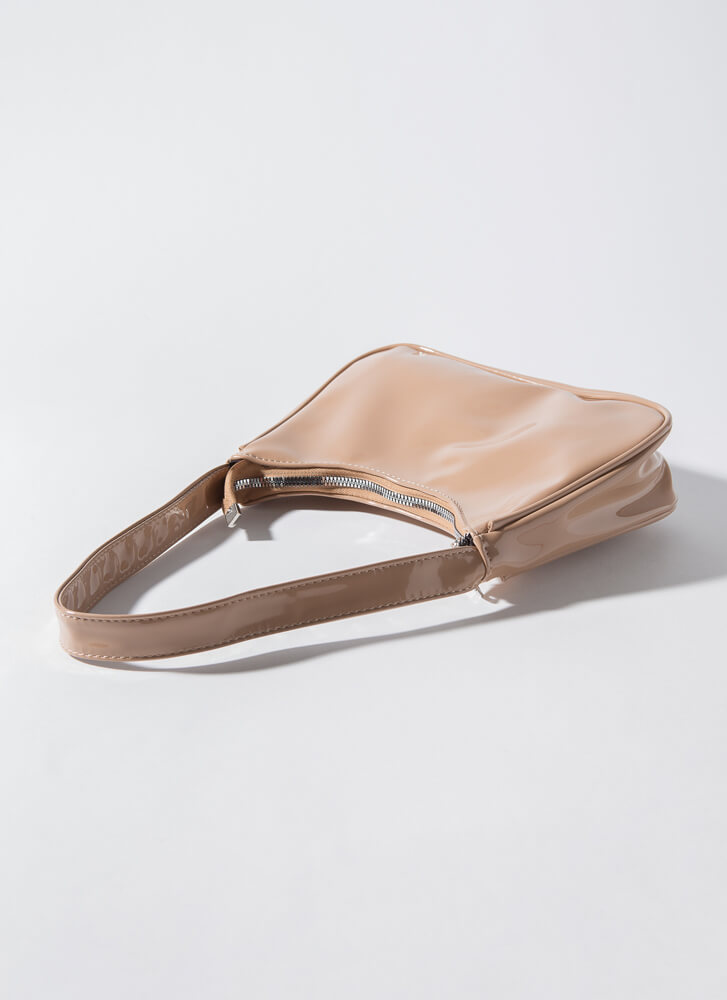 Always On The Go Faux Patent Purse NUDE