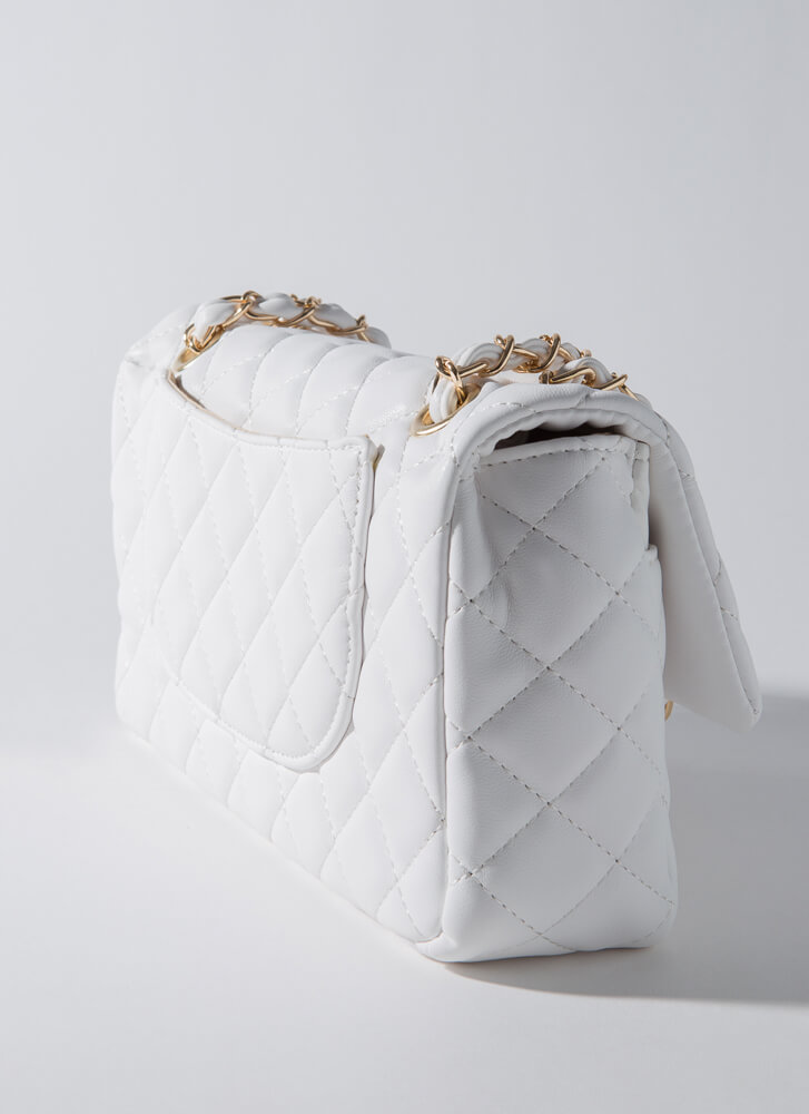 Classy Lady Quilted Chain Strap Purse WHITE