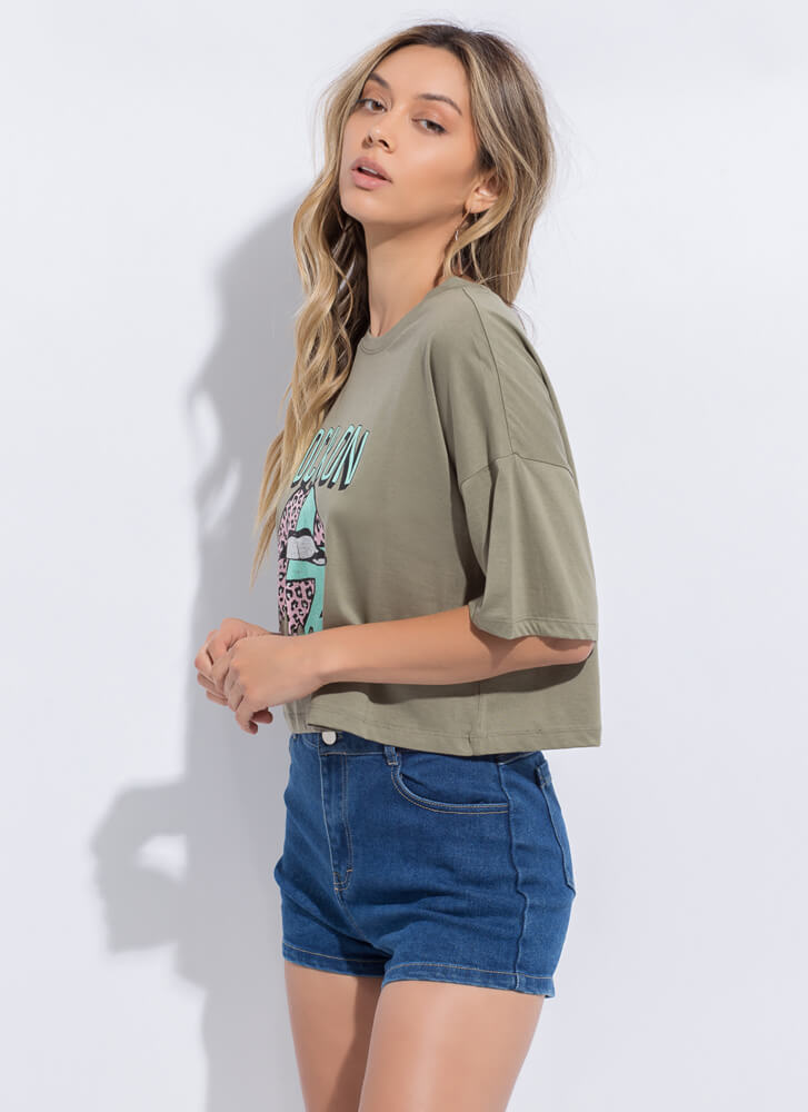 Rock On Dripping Lip Graphic Tee OLIVE