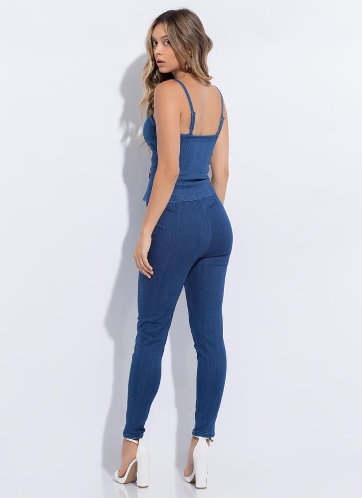 Style Icon Denim Top And Pant Set DKBLUE