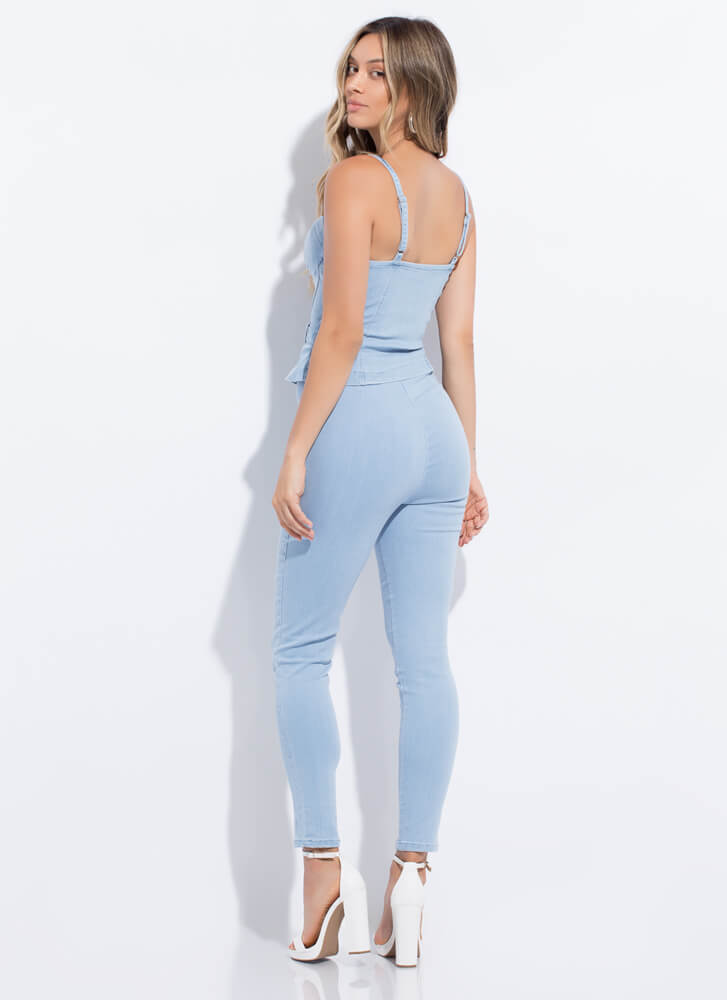 Style Icon Denim Top And Pant Set LTBLUE