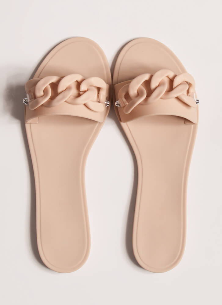 Let's Connect Chain-Link Slide Sandals NUDE