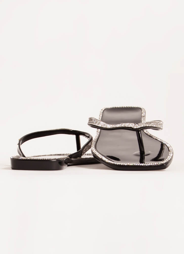 Be Jeweled Jelly Thong Sandals BLACK