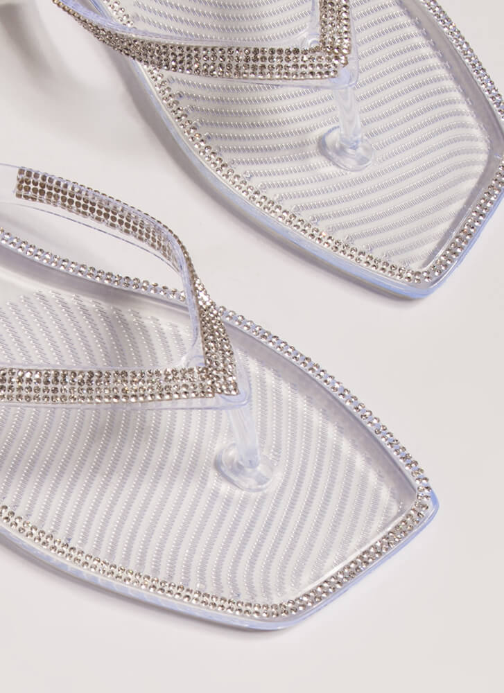 Be Jeweled Jelly Thong Sandals CLEAR