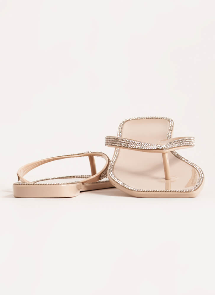Be Jeweled Jelly Thong Sandals NUDE