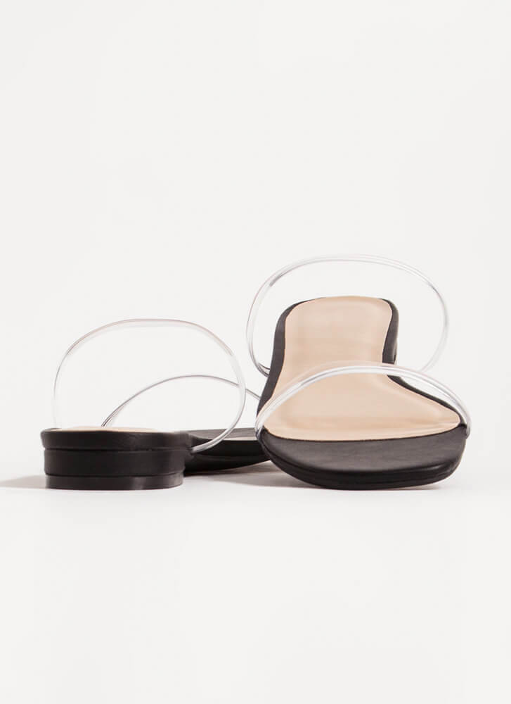Jelly Clear Strap Faux Leather Sandals BLACK