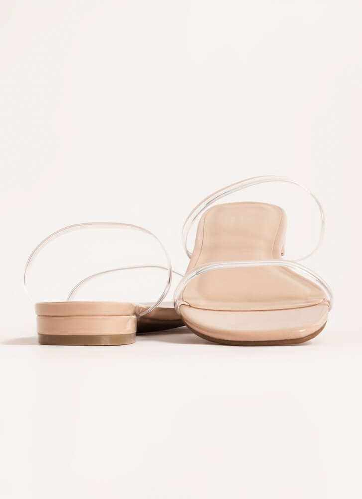 Jelly Clear Strap Faux Patent Sandals NUDE