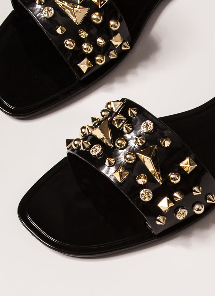 Spikes And Studs Jelly Slide Sandals BLACK