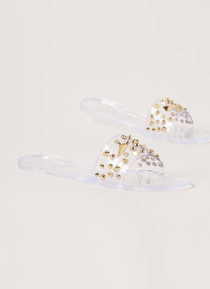 Spikes And Studs Jelly Slide Sandals CLEAR