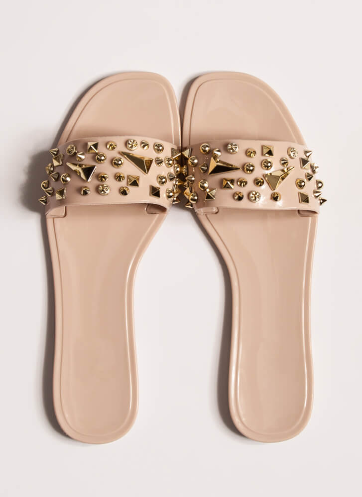 Spikes And Studs Jelly Slide Sandals NUDE