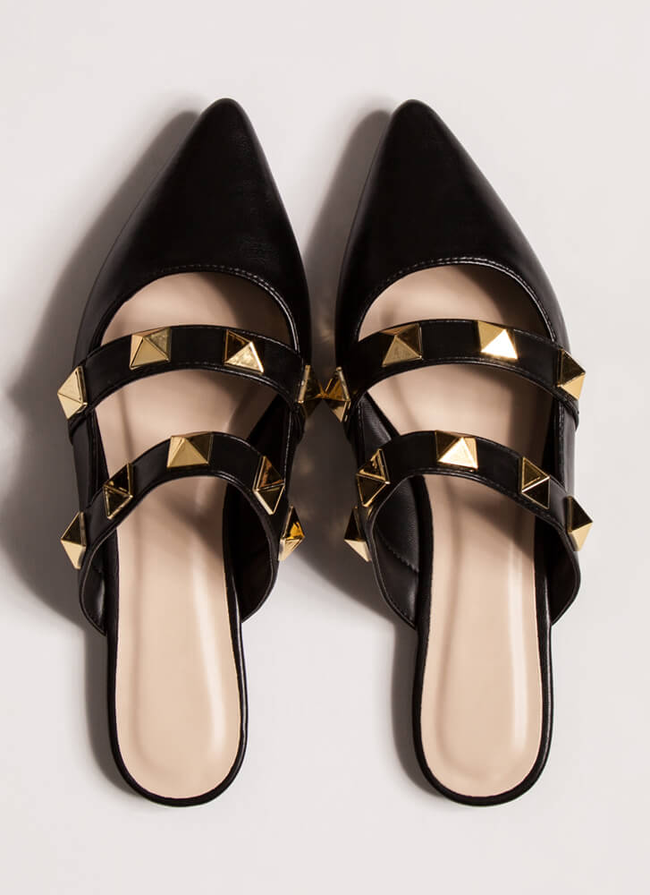 Great Point Studded Strap Mule Flats BLACK