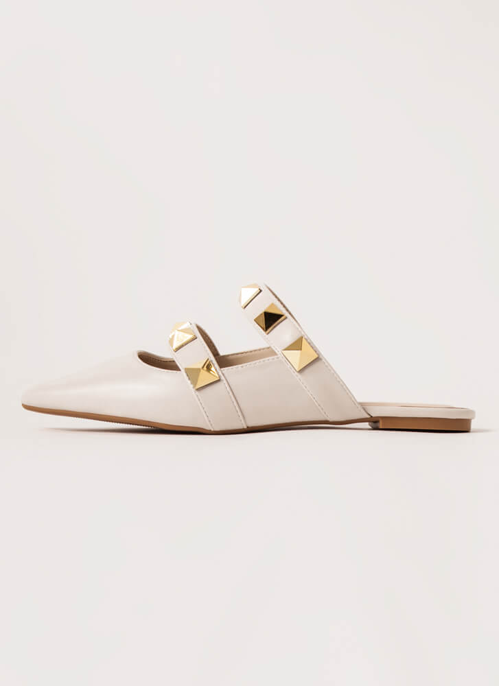Great Point Studded Strap Mule Flats IVY