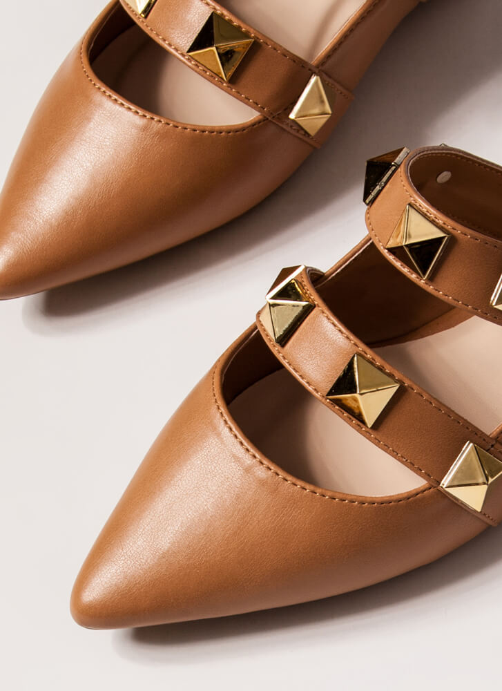 Great Point Studded Strap Mule Flats TAN