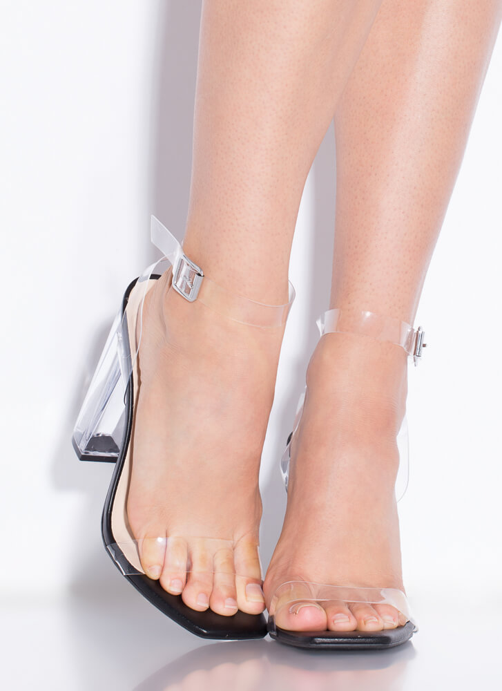 Clearly You Faux Leather Lucite Heels BLACK