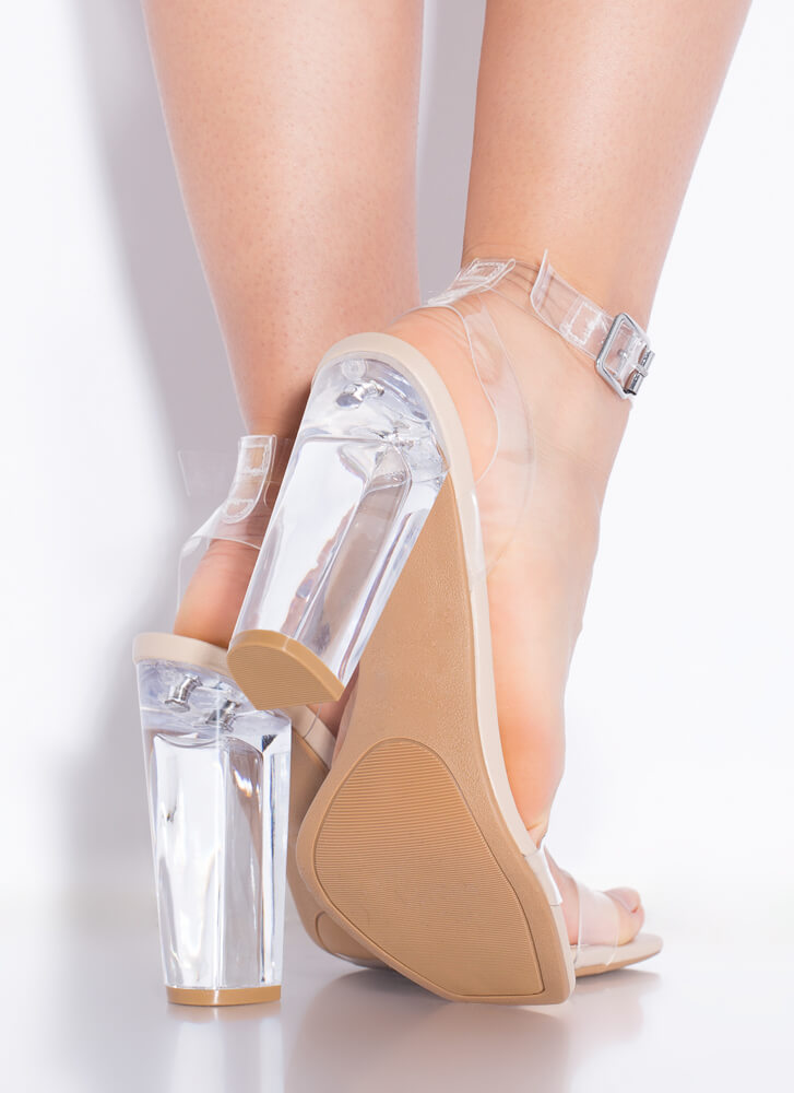 Clearly You Faux Leather Lucite Heels NUDE