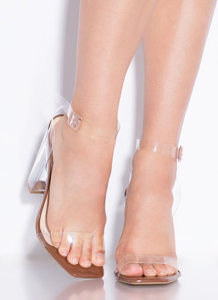 Clearly You Faux Patent Lucite Heels COGNAC