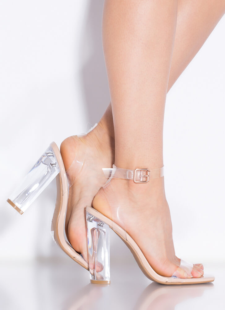 Clearly You Faux Patent Lucite Heels NUDE