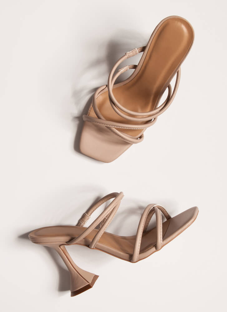 Put Me On A Pedestal Strappy Heels NUDE